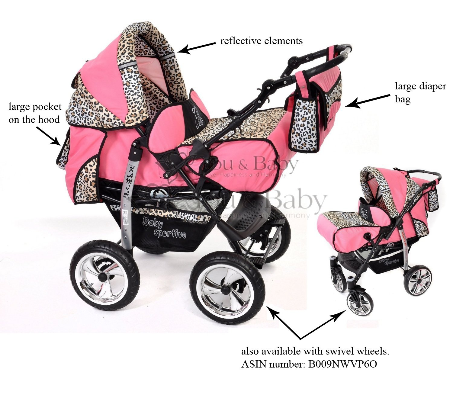 Baby Pram Car Seat Pushchair Accessories 3 In 1 Travel System Pink Leopard Amazoncouk