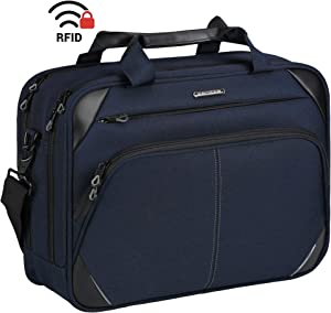 KROSER Laptop Bag 15.6 Inch Laptop Briefcase Laptop Messenger Bag Water Repellent Computer Case Laptop Shoulder Bag Durable Tablet Sleeve with RFID Pockets for Business/College/Women/Men-Dark Blue