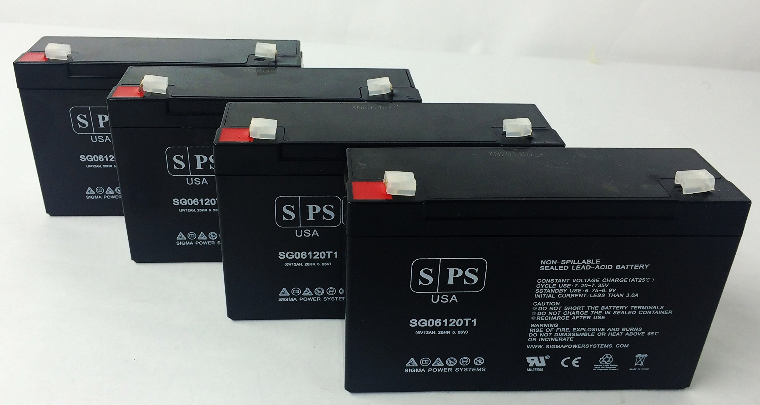 SPS Brand 6V 12Ah Replacement Battery for Safe FES200A UPS (4 Pack) by SPS