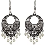 Sansar India Oxidized Handmade Beaded Jhumki Earrings for Girls and Women