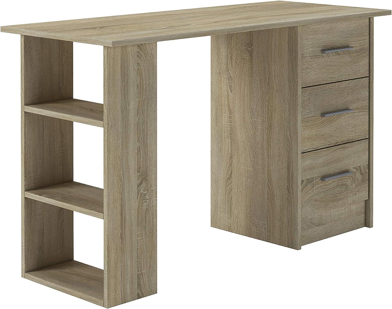 Table de Travail PC Table dordinateur avec /étag/ères 120x49x72 Bureau ConfortChoice Table avec Meuble de Rangement Brun Idea 3 tiroirs Style scandinave