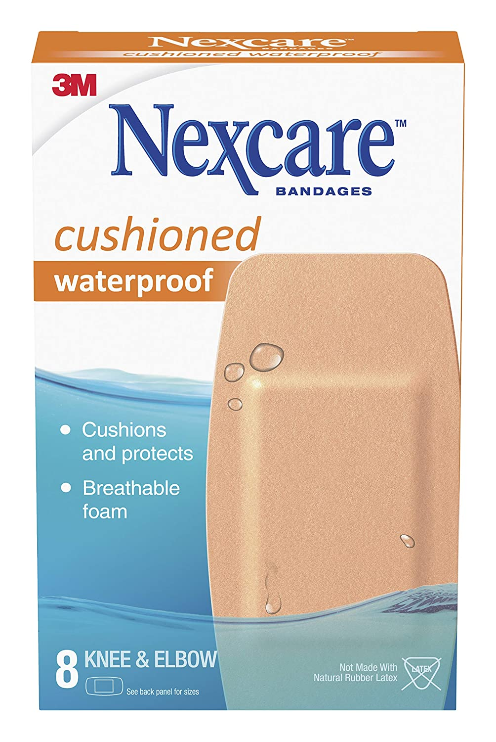 Nexcare Cushioned Waterproof Foam Bandage, Knee and Elbow, 8 Count