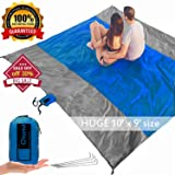 chanvi Large Beach Blanket Handy Sand Mat- Extra Size 9' x 10' Holds 7 Adults with Strap - Perfect for Picnics, Beaches, RV and Outings, Weather-Proof and Mold/Mildew Resistant Huge Ground Cover