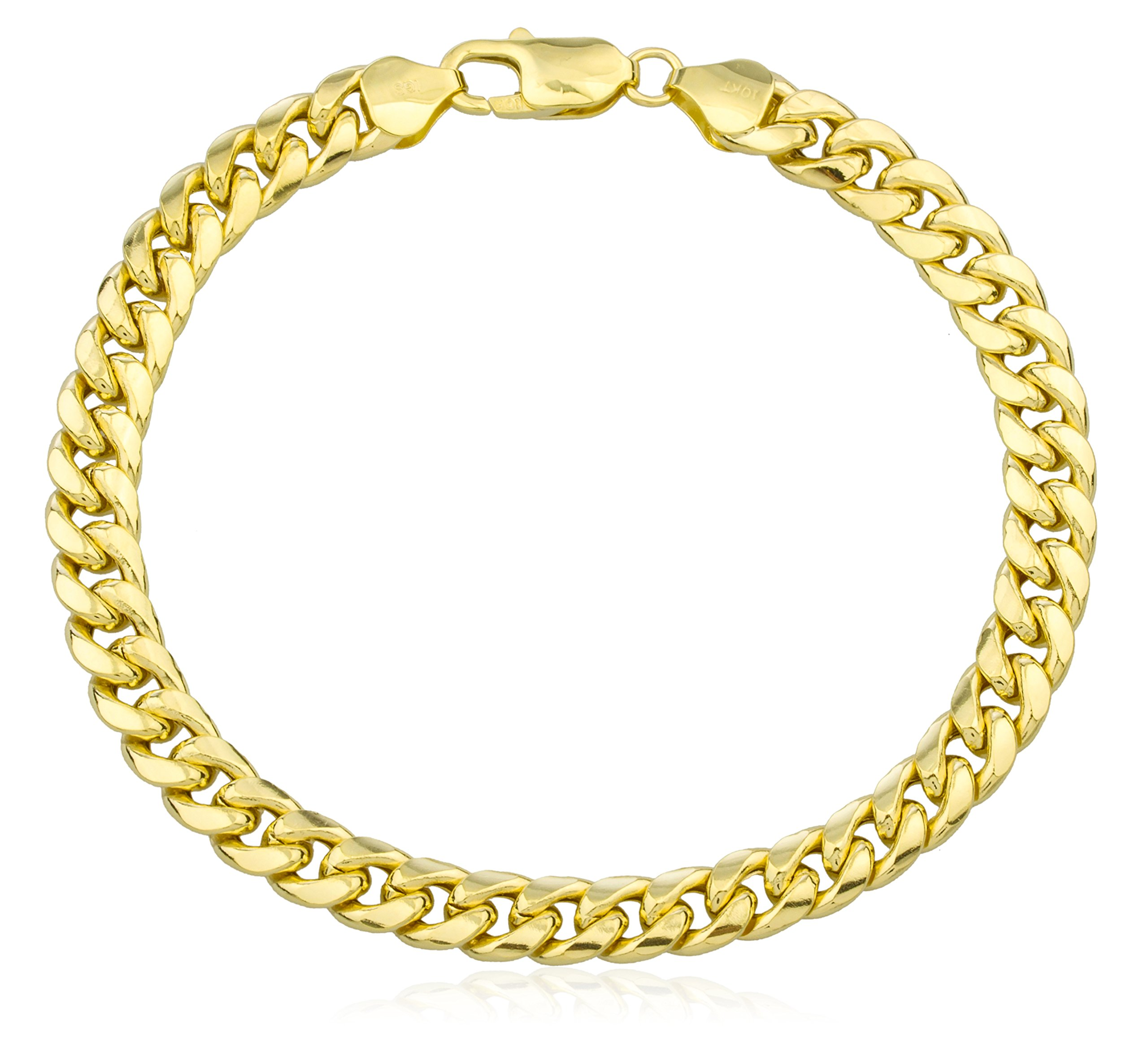 10k Yellow Gold Bracelet 7.4mm Miami Cuban, 9 Inch (GO-1445 Bracelet)