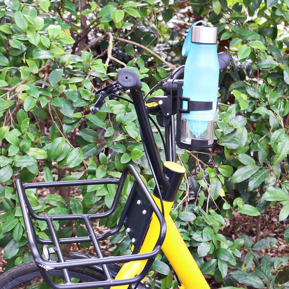 verstellbar Fahrrad Flaschenhalter Rack 360 Grad drehbar Kunststoff Stahl Flaschenhalter für Erwachsene Fahrrad, Mountain Bike, Baby Trolley, Kinder Dreirad, Regenschirm Auto (2 PCS)