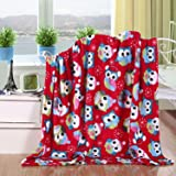 Elegant Comfort Velvet Touch Ultra Plush Christmas Holiday Printed Fleece Throw/Blanket-50 x 60inch), 50 x 60inch, Owls