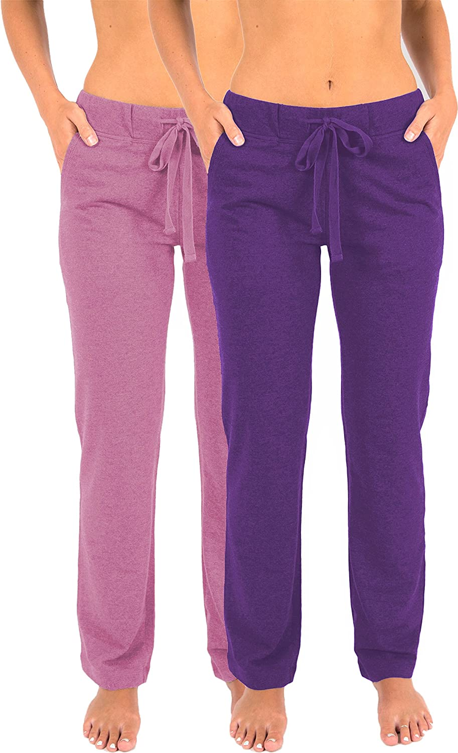 Sexy Basics Women's 2 Pack Ultra Soft French Terry Cotton Drawstring Yoga Lounge Long Pants