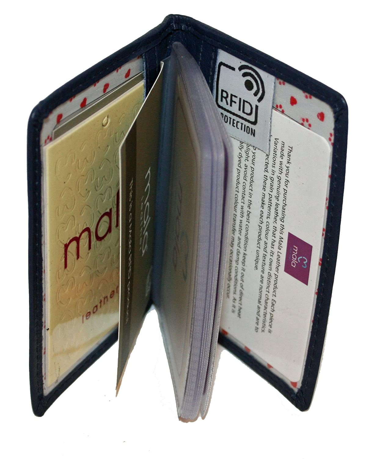 Mala Leather Small Bank//Card Holder Style Lucy 61230 Colour Navy RFID Protection