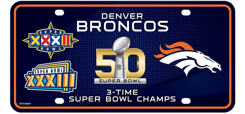 Denver Broncos 3X Super Bowl Champions Aluminum License Plate Tag Football