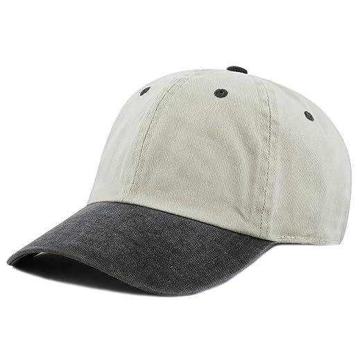 THE HAT DEPOT Cotton Pigment Dyed Low Profile Six Panel Cap (Beige Black) bd3ae13e4206