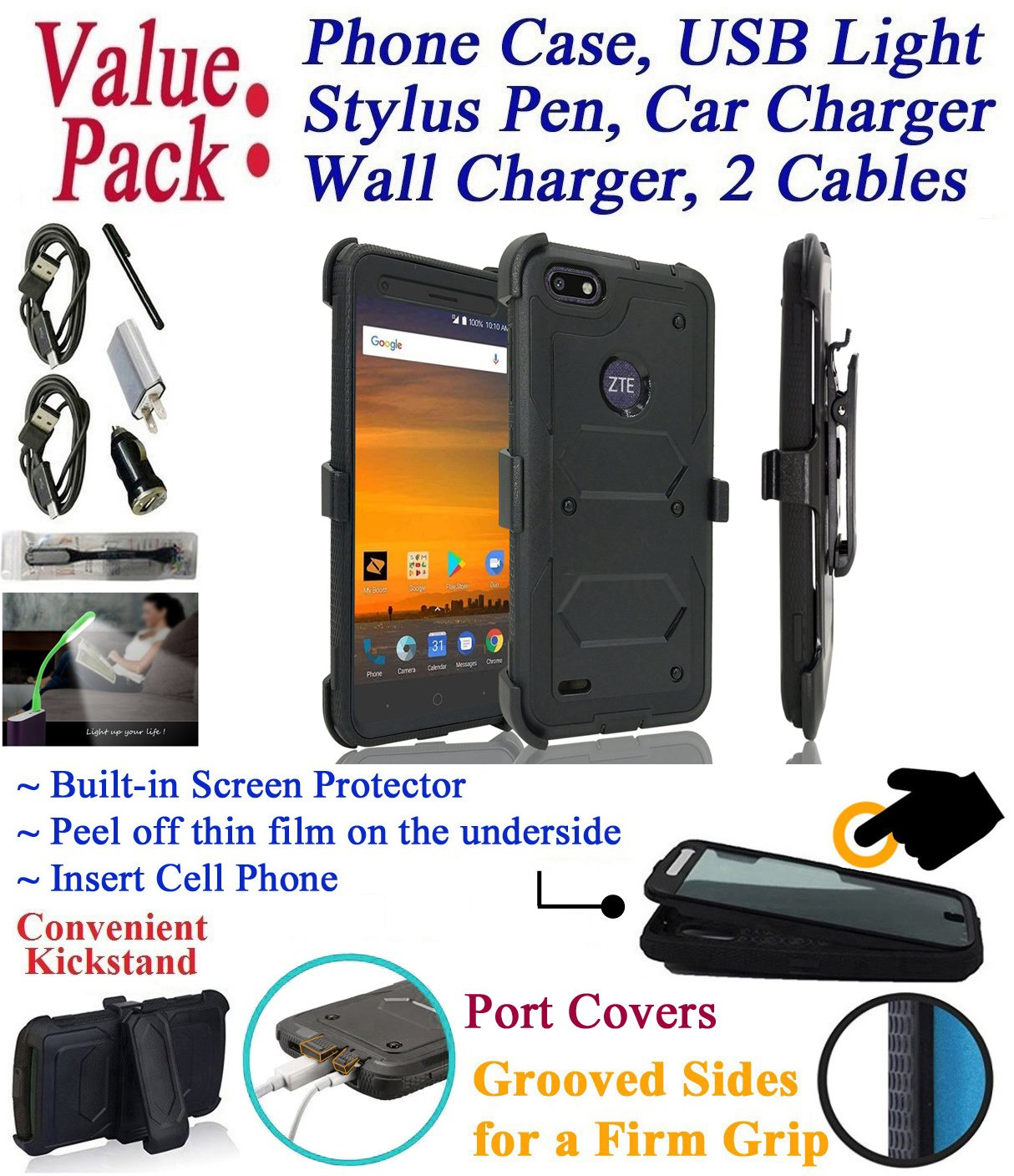 Value Pack + for 5.5'' ZTE WARP 8 Blade Force Case Clip Holster Phone Case 360° Cover Screen Protector Kick Stand Armor Shock Bumper (Black)