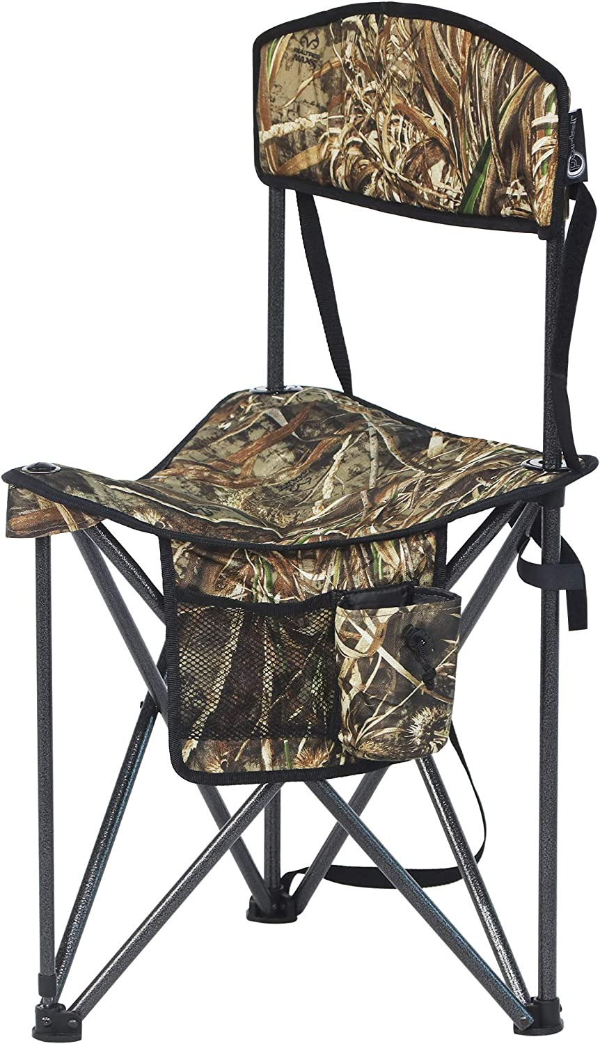 PORTAL Extra Large Quick Folding Tripod Stool with Backrest Fishing Camping Chair with Carry Strap (CAMO)