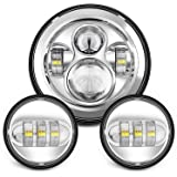 "Sunpie 7 Inch Chrome Harley Daymaker LED Headlight+ 2x 4-1/2"" Fog Light Passing Lamps for Harley Davidson Motorcycle"