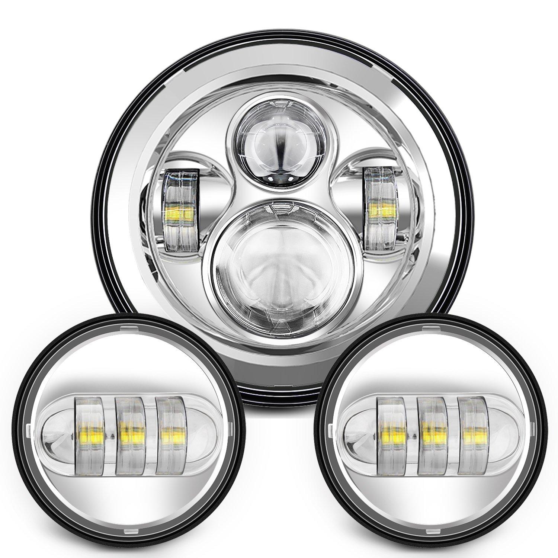 Sunpie 7 Inch Chrome Harley Daymaker LED Headlight+ 2x 4-1/2' Fog Light Passing Lamps for Harley Davidson Motorcycle 4333013872