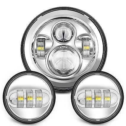 Sunpie 7 Inch Chrome Harley LED Headlight+ 2x 4-1/2