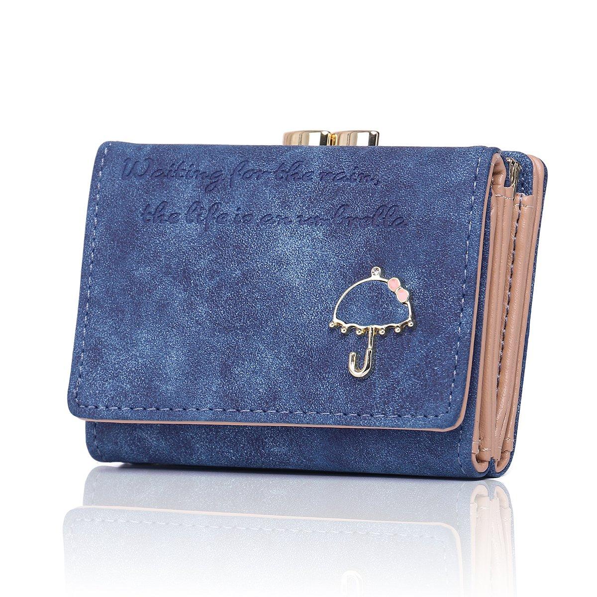 APHISONUK Damen Geldbörse aus Nubukleder Kartenhalter süß kleine geldbeutel für Lady Kiss Lock Geschlossene / Geschenk für Mädchen (Geschenkbox) 330PQJ13Blue
