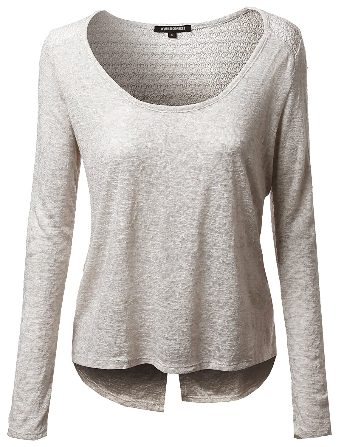 Awesome21 Women's Super Cute Lace Knit Long Sleeve Back open Top