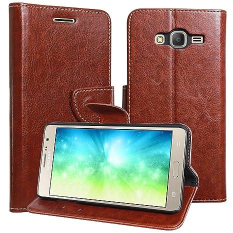 new style 4466f dedb7 Js Cool Samasung Galaxy E7 Flip Cover, Stylish Vintage Pu Leather Wallet  Card Holder Stand Flip Case Cover for Samsung Galaxy E7 (Brown)