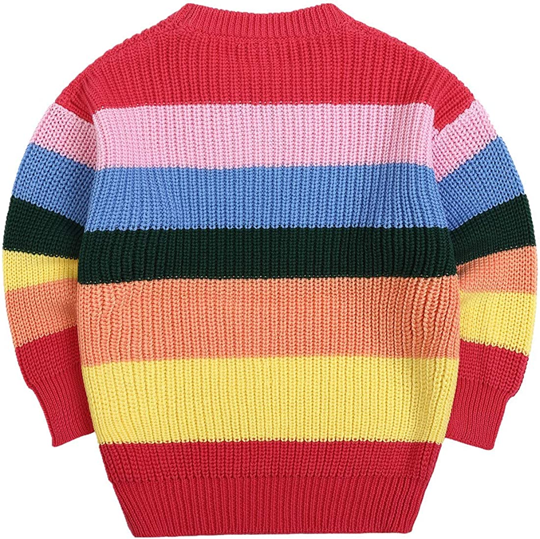 Sooxiwood Little Girls Sweater Thin O-Neck Striped