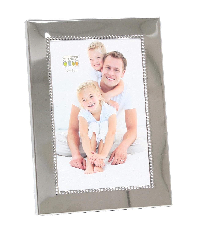 Deknudt Frames S67AF1-13.0X18.0 Bilderrahmen, Perlenverzierung, glänzend, 21,5 x 16 x 2 cm, silberfarben glänzend