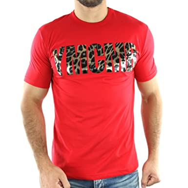 3832072936df6 HT630-RED - T-shirt Léopard Col rond - YMCMB - HT630 - manches ...