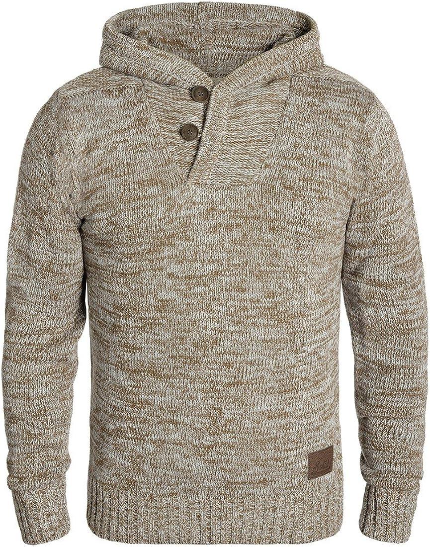 !Solid Praktik Jersey De Punto Suéter Sudadera De Punto Grueso con Capucha para Hombre con Cuello Cruzado De 100% algodón