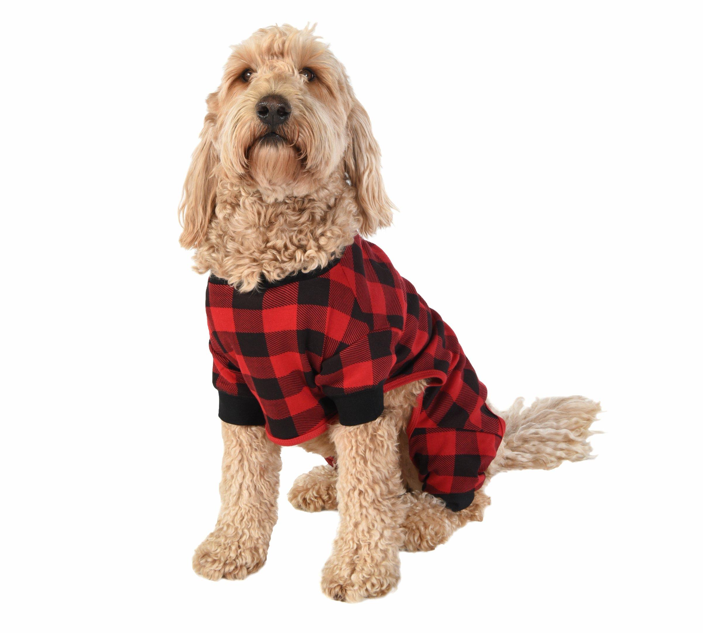 Plaid Bear Cheeks Flapjacks Dog Flapjack Onsie Sweater by LazyOne   Adult Kid Infant Dog Family Matching Pajamas (Medium)