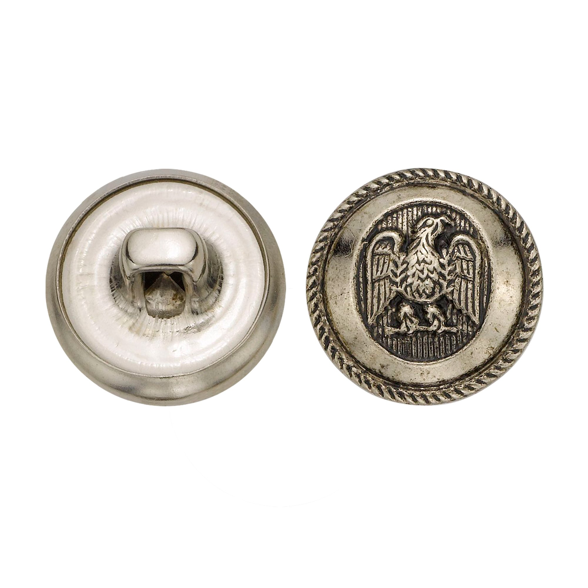 C&C Metal Products 5064 Rope Rim Usa Eagle Metal Button, Size 24 Ligne, Antique Nickel, 72-Pack