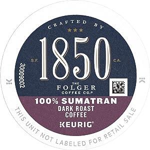 1850 by Folgers Coffee 100% Sumatran Dark Roast Coffee, 60 K Cups for Keurig Coffee Makers
