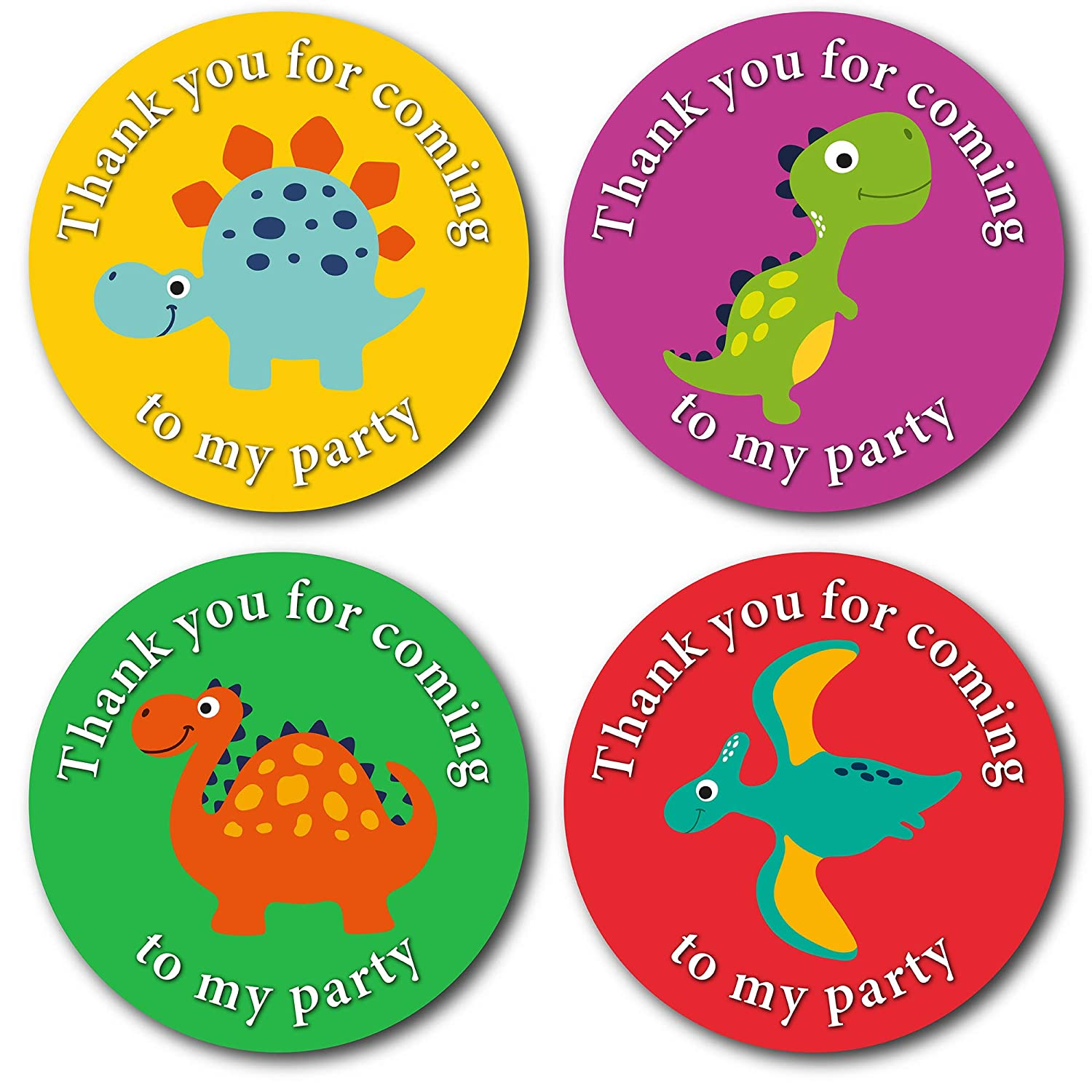 Dinosaur Party bag stickers 24 thank you for coming sweet cone labels