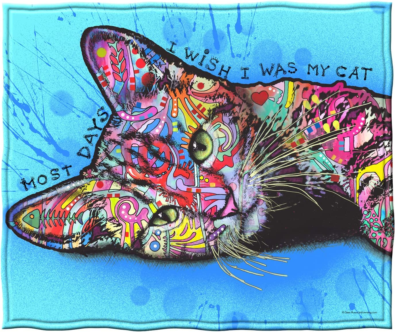 Dawhud Direct Fleece Throw Blanket by Dean Russo (Wish I was My Cat)