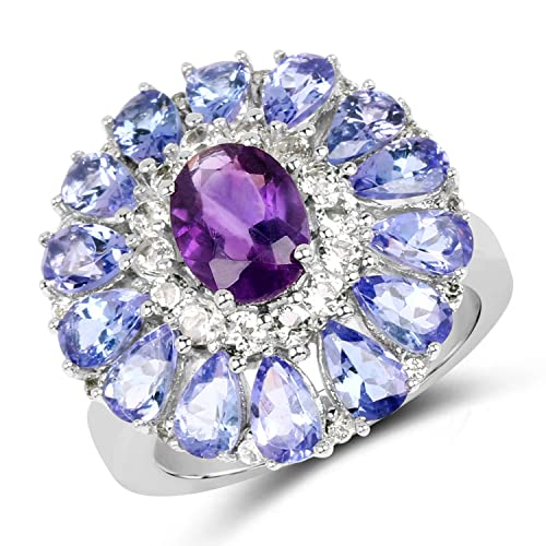 Johareez 4.86 cts Amethyst, Tanzanite White Topaz .925 Sterling Silver Rhodium Plated Ring for Women
