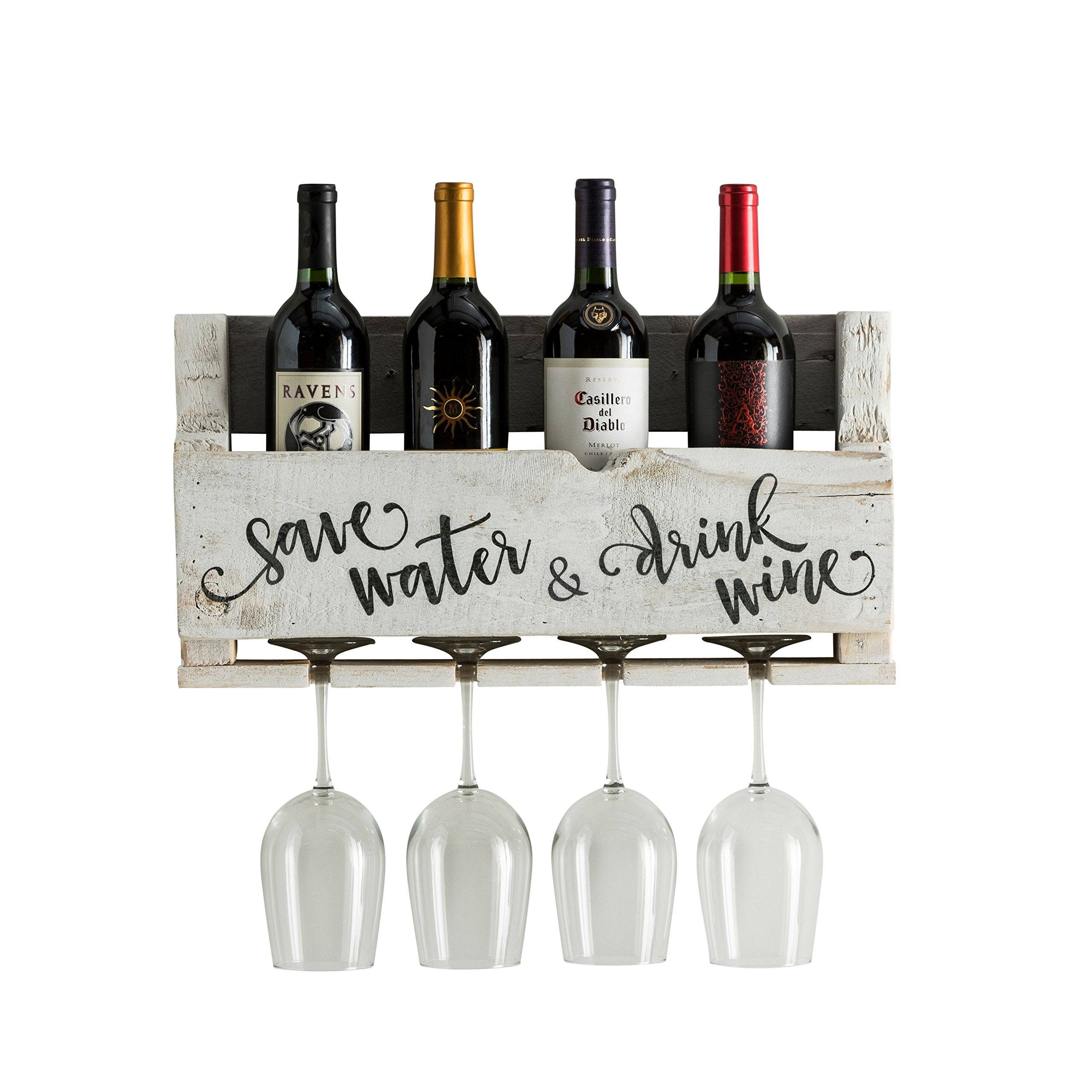 del Hutson Designs The Little Elm Wine Rack w/Quote 'Save Water & Drink Wine USA Handmade Reclaimed Wood, Wall Mounted, 4 Bottle 4 Long Stem Glass Holder (White)