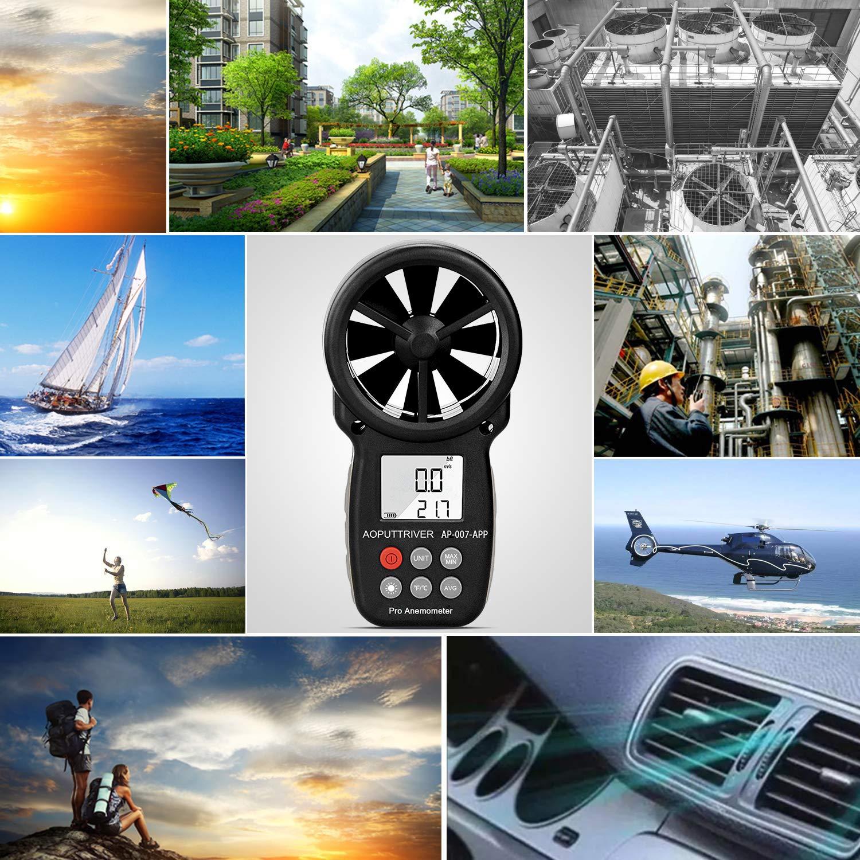 Medidor de velocidad del viento AP-007APP con anem/ómetro digital de mano,anem/ómetro inal/ámbrico de paleta Bluetooth velocidady temperatura Monitor de clima