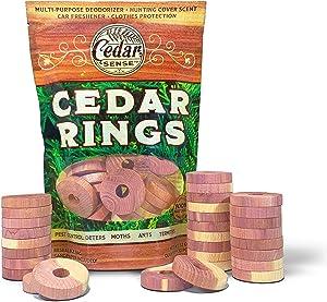 CEDAR SENSE Cedar Rings - 30 Pack - Cedar Blocks for Clothes Storage - Cedar for Closets - Closet Freshener - Cedar for Hangers - Cedar Closet Freshener