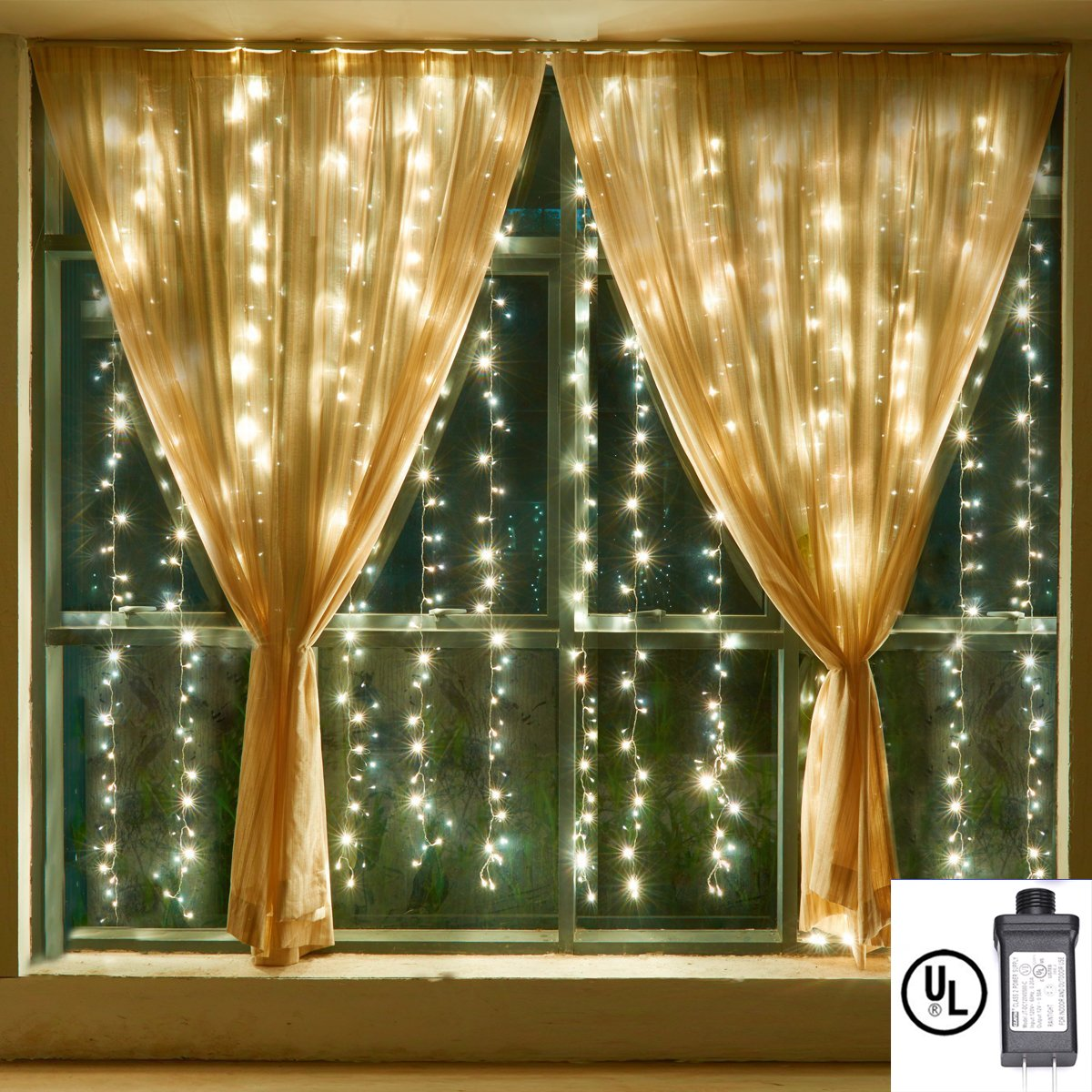 Curtain Lights,Bienna 3M x 3M /10 ft x 10 ft 304 LED UL Listed Plug In Icicle Twinkle Fairy String Lighting [Waterproof] [8 Modes] for Christmas Window Weddings Bedroom Indoor Outdoor Party-Warm White