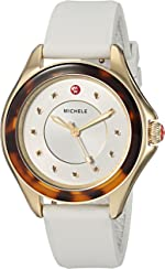 MICHELE Women's Cape Stainless Steel Quartz Watch with Silicone Strap, White,