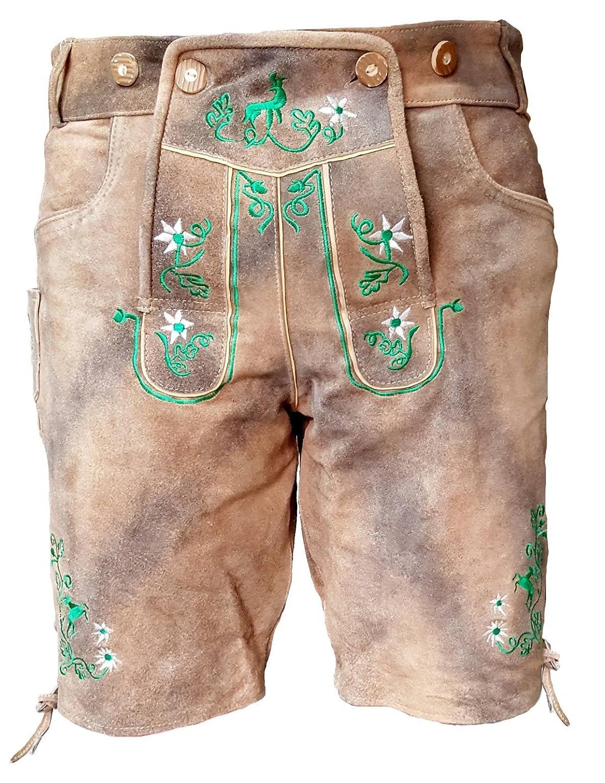 Kurze Herren Trachten-Lederhose mit Stickerei, Used-Look Farbe grau-braun antik, Trachtenhose Oktoberfest TR-09