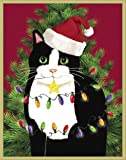 Entertaining with Caspari Cat With Tree And Lights Christmas Cards (Box of 16), Black