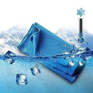 PUQU 冷却タオル 速乾タオル 超冷感 瞬冷 8色選択可能 スポーツタオル 運動タオル 暑さ対策 熱中症対策 旅行に最適 (blue, 袋入り)