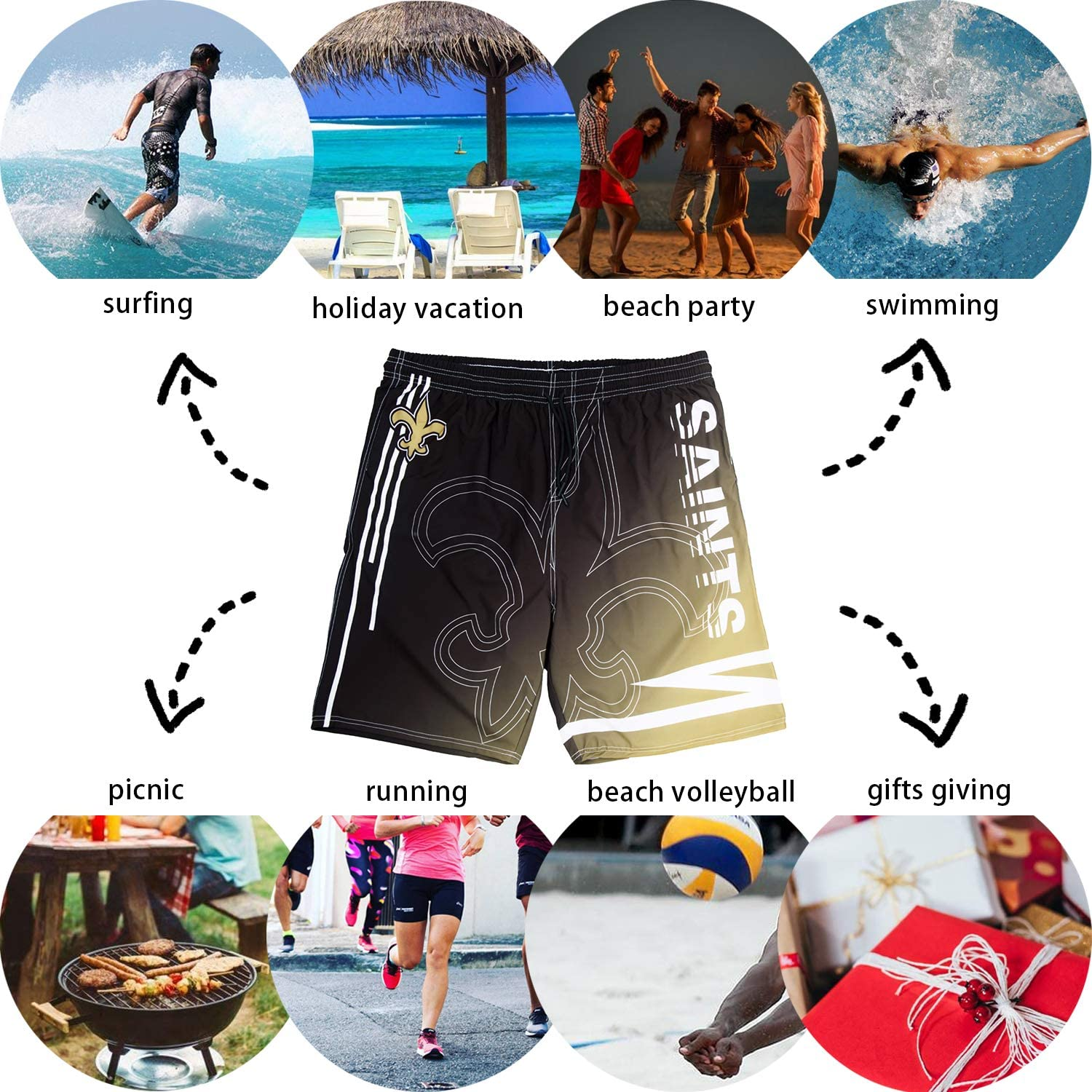 ZEWLLY Football Team Mens Swim Gradient Shorts Training Quick Dry Swim Suit Trunks Athletic Sportwear for Men