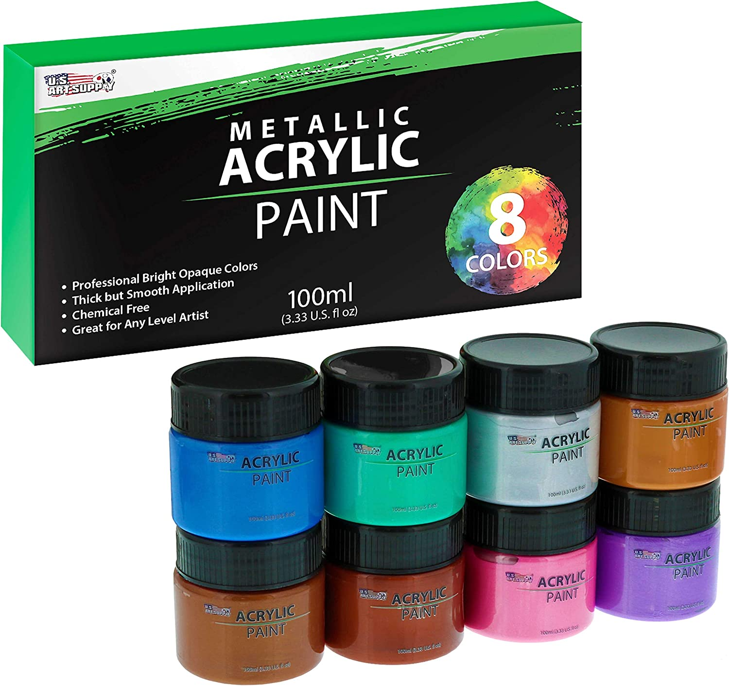U.S. Art Supply 8 Color Metallic Acrylic Paint Jar Set 100ml Bottles (3.33 fl oz) - Professional Artist Bright and Vivid Pearlescent Metallic Colors great for Acrylic Pouring shimmer effects