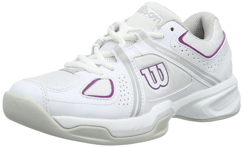 Wilson Femme Chaussures de Tennis, Idéal pour les joueuses de tous niveaux, Pour tout type de terrain, NVISION ENVY W, Tissu Synthétique, Blanc (White/Steel Grey/Azalee Pink) WRS320880E0