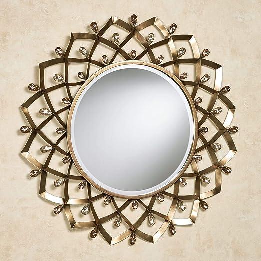 Amazon.com: Espejo de pared redondo de color bronce champán de Touch of Class Madigan: Home & Kitchen