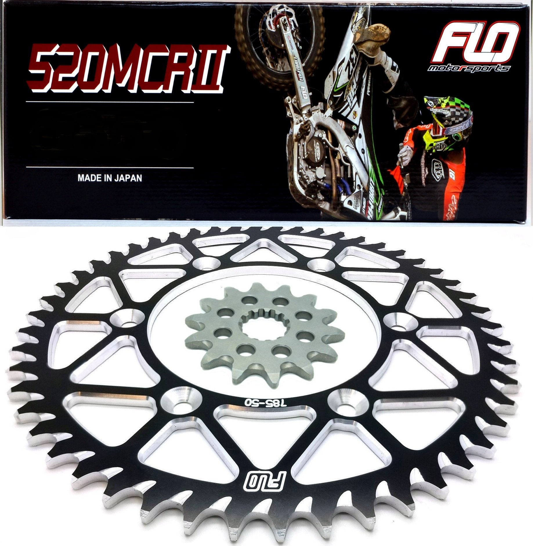 Flo Motorsports Gold Chain & Sprocket Combo Kit HONDA CRF250 CR125 CRF250R FRONT SPROCKET 14T / REAR SPROCKET 48, 49, 50, 51, 53 TOOTH (49T, Black) by Flo Motorsports