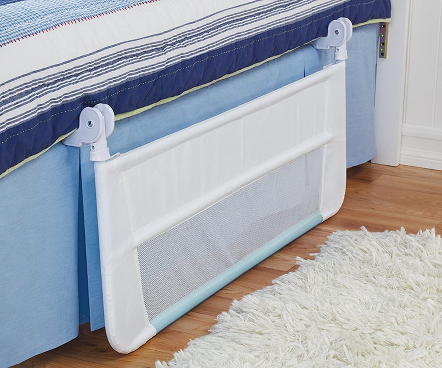 Amazon Munchkin Safety Toddler Bed Rail White Blue Discontinued By Manufacturer Childrens Guards Baby