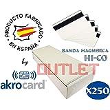 Pack 250 - Tarjeta pvc BLANCA con banda magnética LO-CO ...