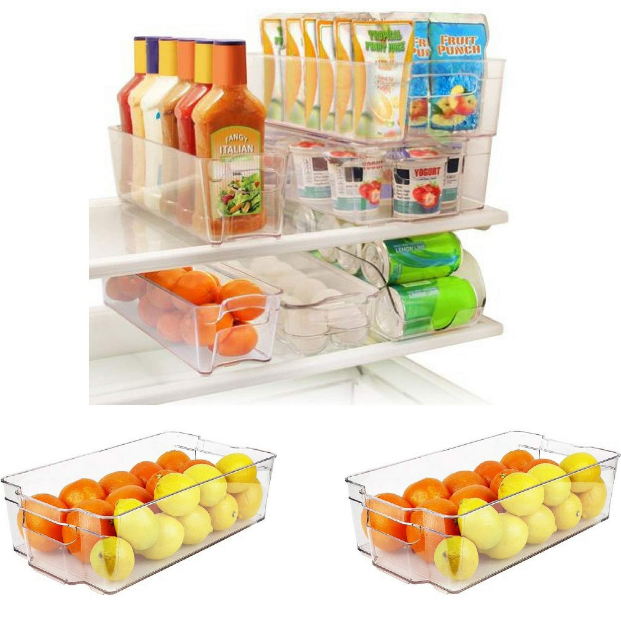 Greenco 8 Piece Refrigerator And Freezer Stackable Clear Storage Organizer Bins With Handles