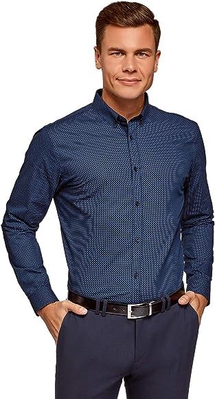 oodji Ultra Hombre Camisa Entallada con Estampado Pequeño, Azul, 37: Amazon.es: Ropa y accesorios