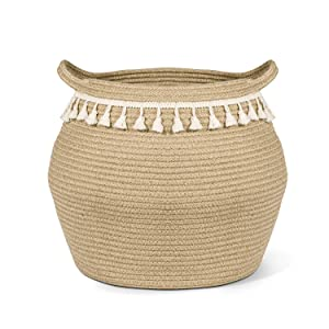 """CherryNow Wicker Basket Sturdy Jute Cotton Rope Belly Basket with Tassel, 12"""" Open Diameter x 12.6"""" Height Decorative Woven Storage Basket Boho Laundry Basket for Blanket, Clothes, Toys, Plants"""
